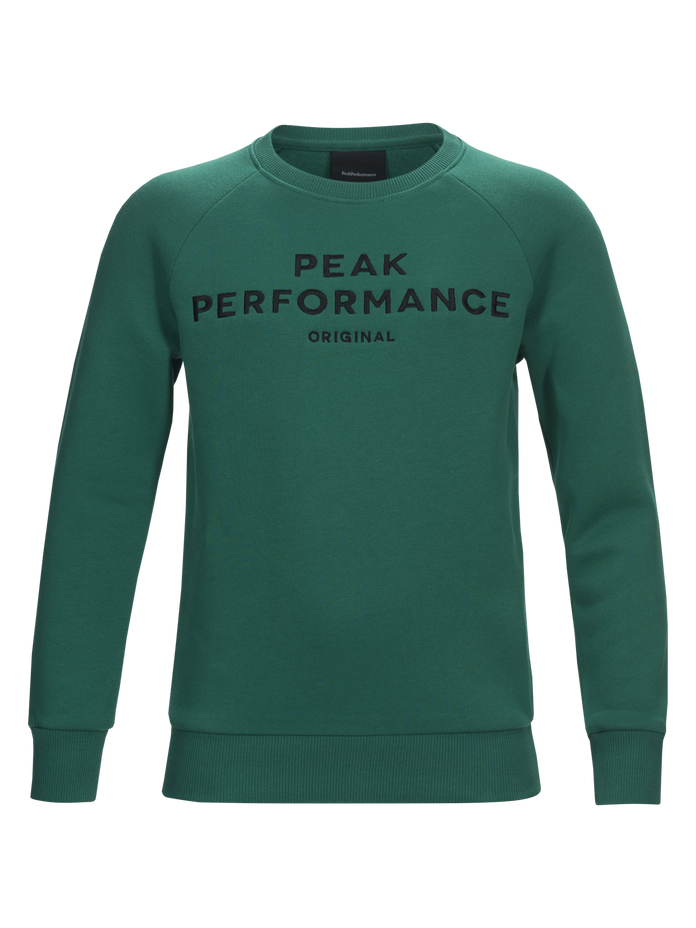 Kids Logo Crew neck Shady Green | Peak Performance