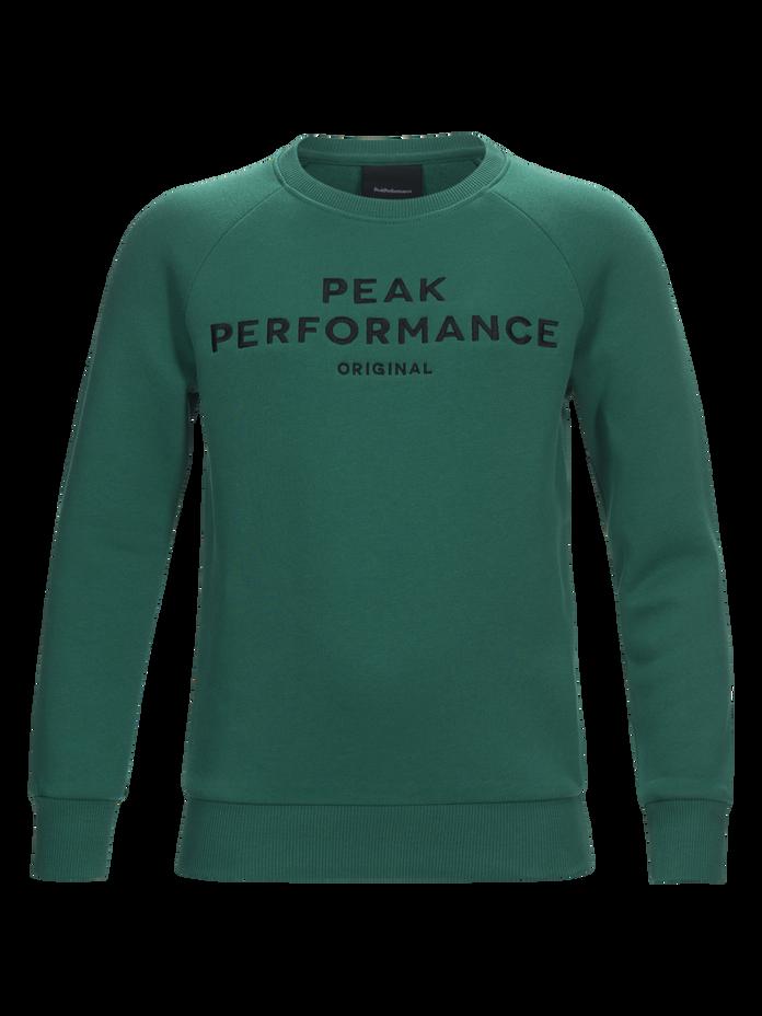 Logo barntröja med rund halsringning Shady Green | Peak Performance