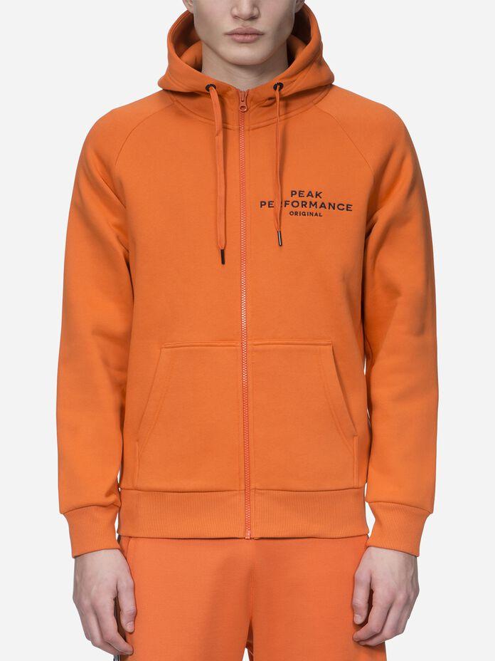 Men's Logo Zipped Hood Orange Flow   Peak Performance