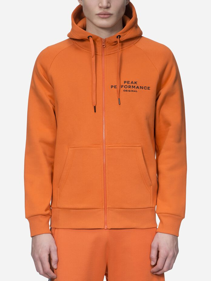 Men's Logo Zipped Hood Orange Flow | Peak Performance