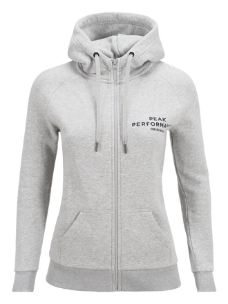 Women's Logo Zip Hood Med Grey Mel | Peak Performance