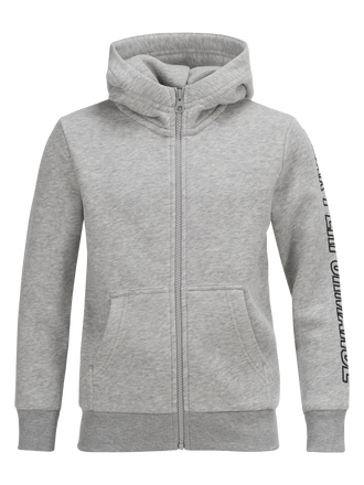 Kids Zipped Hooded Sweater Med Grey Mel | Peak Performance