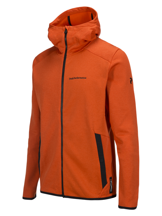 Goldeck mellanlager med huva och dragkedja för herrar Orange Lava   Peak Performance