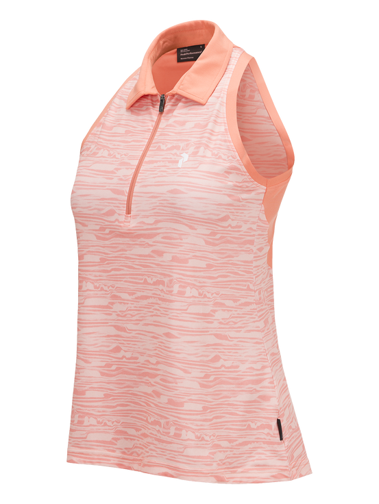 Women's Golf Printed Half-Zipped Sleeveless Top PATTERN | Peak Performance