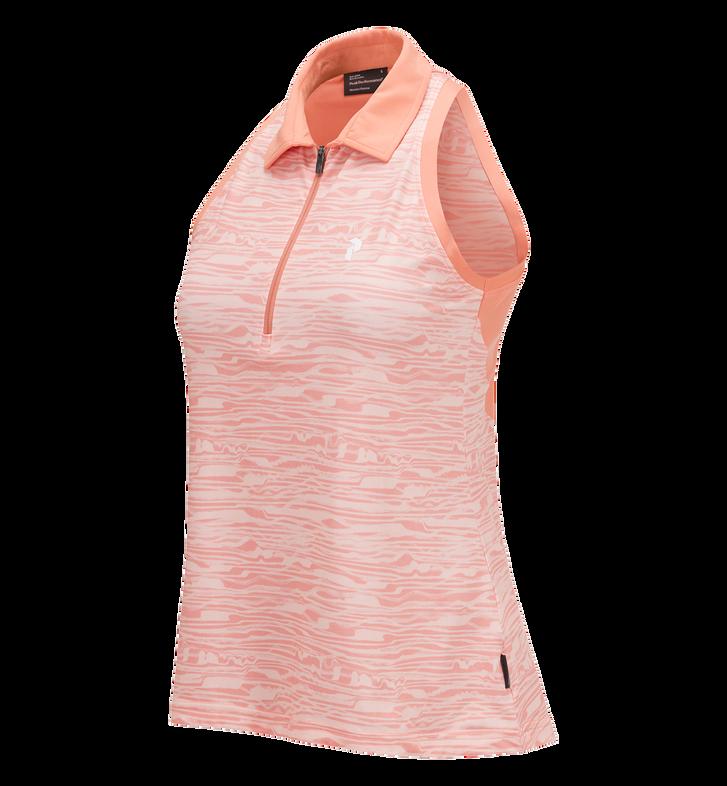 Haut de golf pour femmes sans manche imprimé à demi-zip