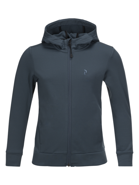 Kids Ace Hooded Zipped Mid-Layer Blue Steel | Peak Performance