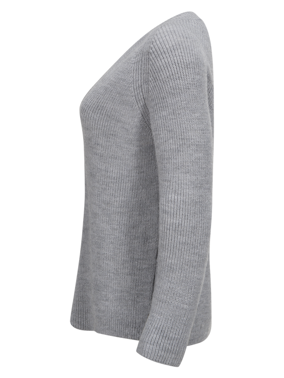 Women's Lounge V-neck Sweater Med Grey Mel | Peak Performance