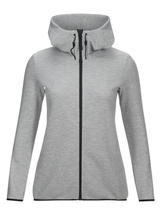 Women's Tech Zipped Hooded Sweater Med Grey Mel | Peak Performance