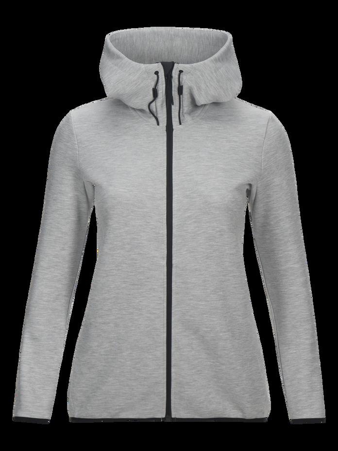 Women's Tech Zipped Hooded Sweater Med Grey Mel   Peak Performance