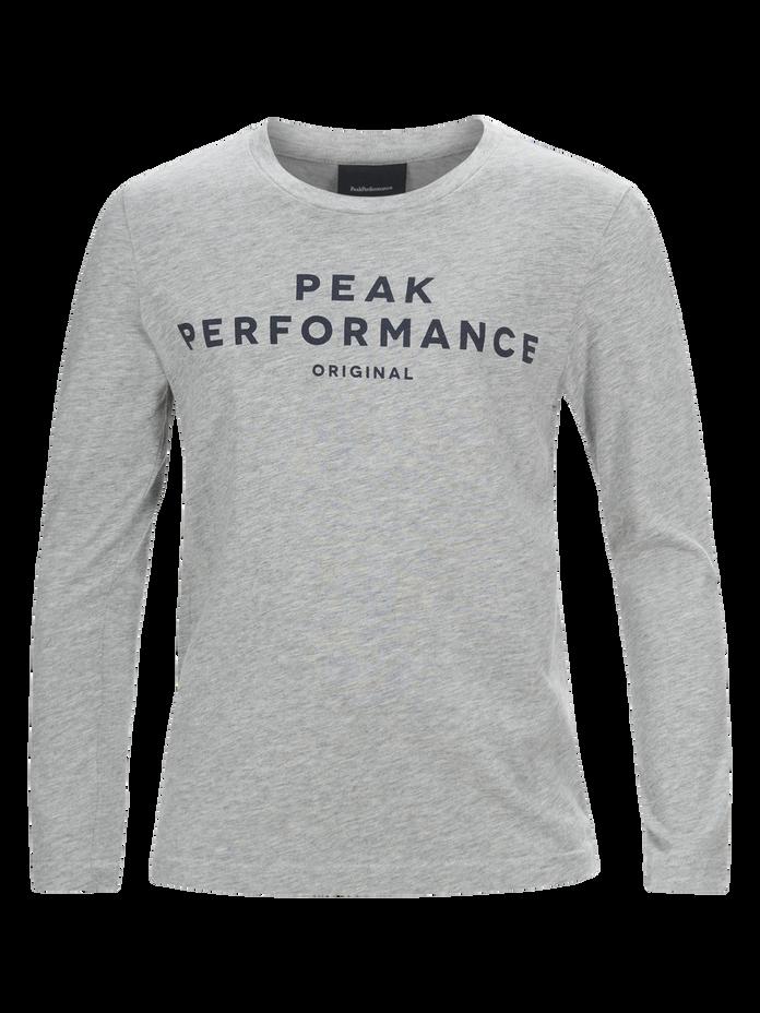 Kids Langärmliges T-Shirt Med Grey Mel | Peak Performance