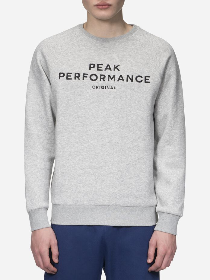 Men's Logo crew neck Med Grey Mel | Peak Performance