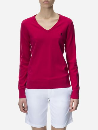 Women's Golf Classic V-neck Sweater True Pink | Peak Performance