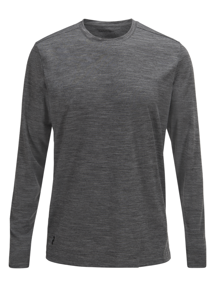 Men's Civil Merino Long-sleeved T-shirt Grey melange | Peak Performance