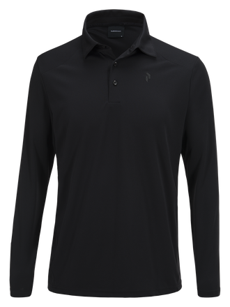 Men's Longsleeve Golf Polo Black | Peak Performance