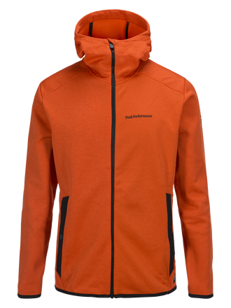 Men's Goldeck Hooded Zipped Mid-layer Orange Lava | Peak Performance