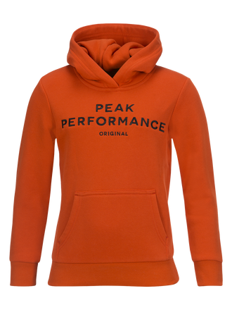 Logo barntröja med huva Orange Lava | Peak Performance