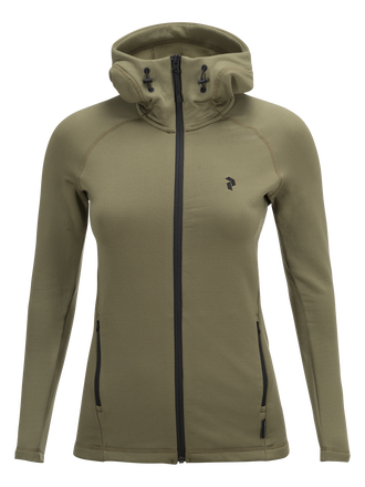 Women's Waitara Zipped Hooded Mid-Layer Soil Olive | Peak Performance