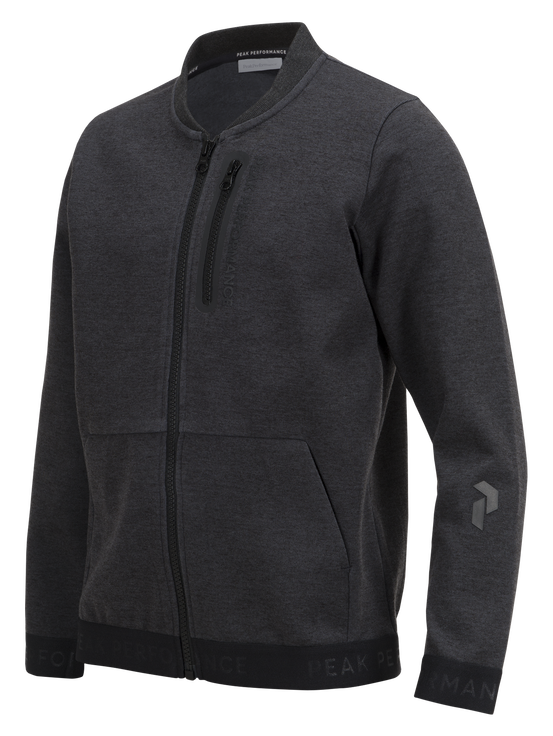 Kids Tech Zipped Jacket  Dk Grey Mel | Peak Performance