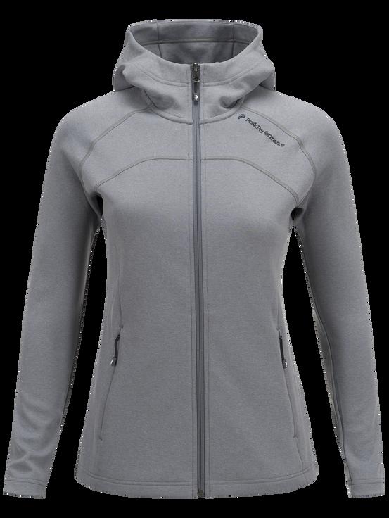 Women's Kate Zipped Hooded Mid-Layer Grey melange | Peak Performance