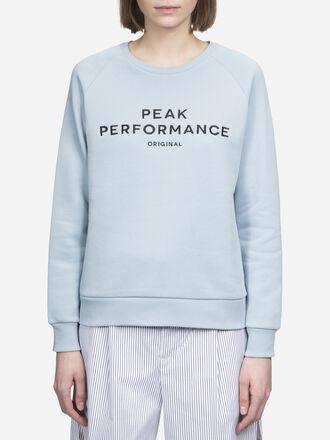 Damen Logo Rundhalsausschnitt Downy Blue | Peak Performance