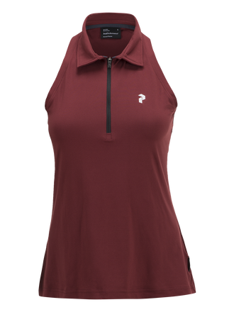 Women's Golf  Zipped Sleeveless Polo Cabernet | Peak Performance