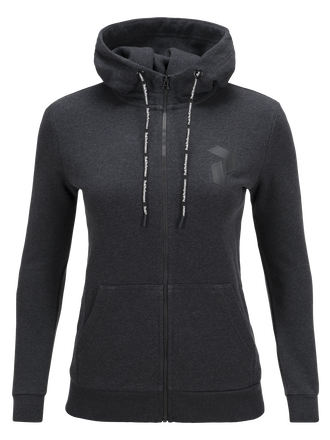 Women's Zero Zipped Hooded Sweater Dk Grey Mel | Peak Performance