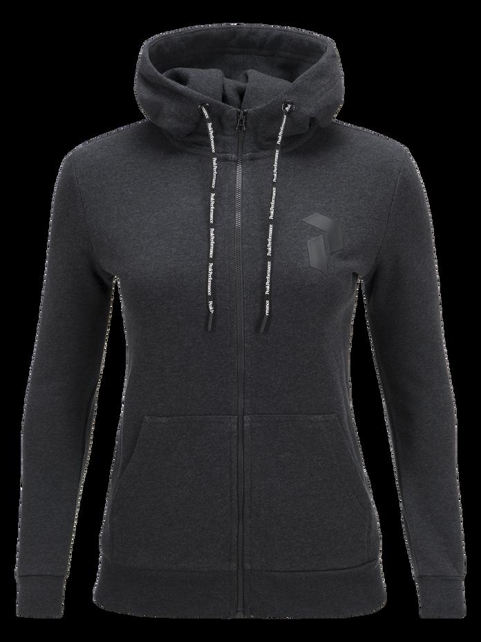 Women's Zero Zipped Hooded Sweater Dk Grey Mel | Peak Performance