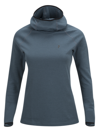 Women's Power Hooded Jersey Blue Steel | Peak Performance