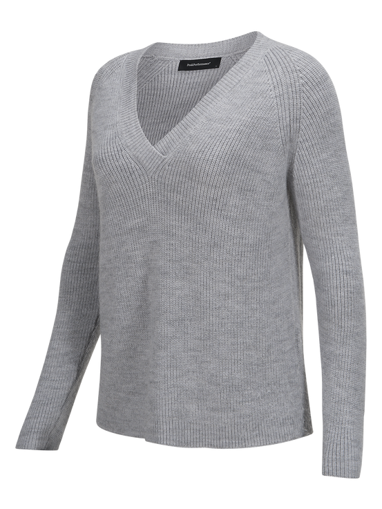Damen Lounge V-Ausschnitt Pullover Med Grey Mel | Peak Performance