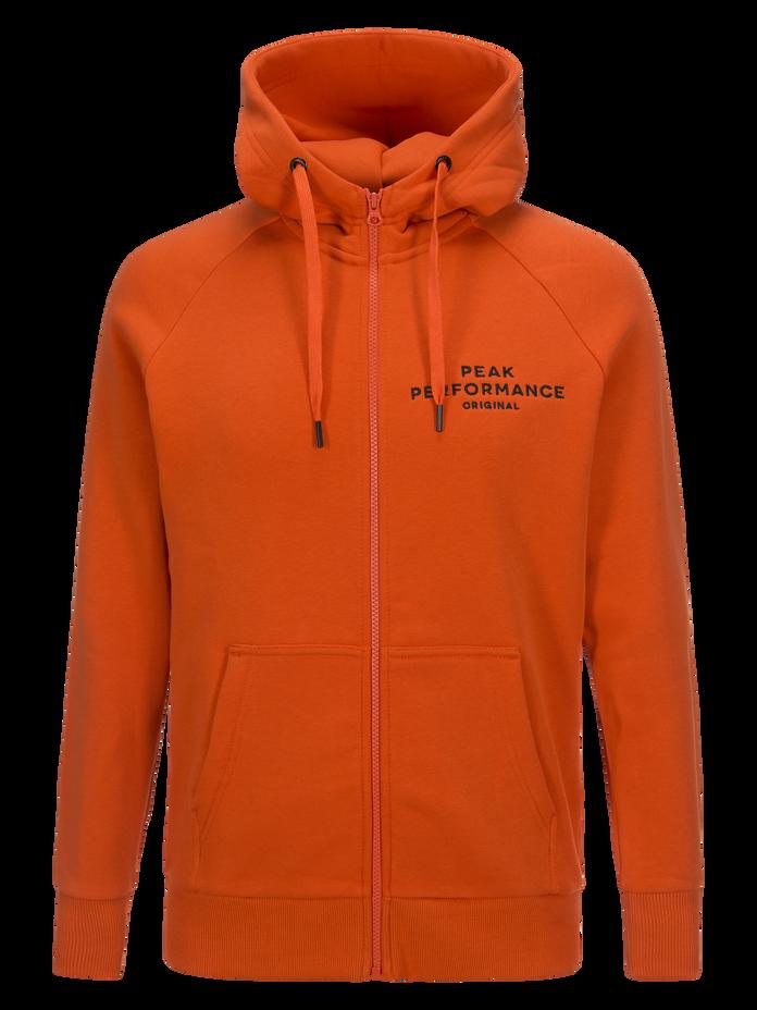 Men's Logo Zipped Hoodie Orange Lava | Peak Performance