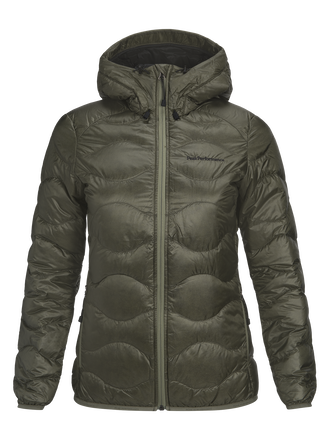 Women's Helium Lux Hooded Jacket Leaflet green | Peak Performance