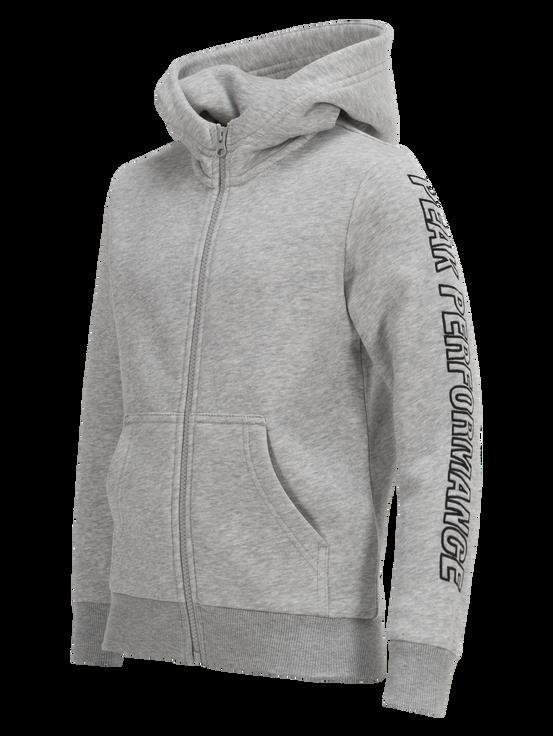 Kids Zipped Hooded Sweater Med Grey Mel | Peak Performance