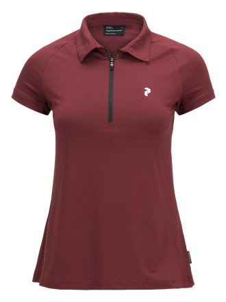 Women's Golf Zipped Short-sleeve Polo Cabernet | Peak Performance