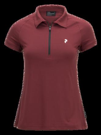Damen Golf Mit Reißverschluss Ärmelloses Poloshirt Cabernet | Peak Performance