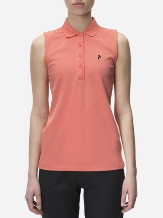 Damen Golf Ärmellos Poloshirt Digital Pink | Peak Performance