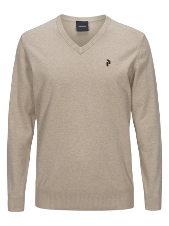 Men's Golf Classic V-neck Sweater Slow Beige | Peak Performance
