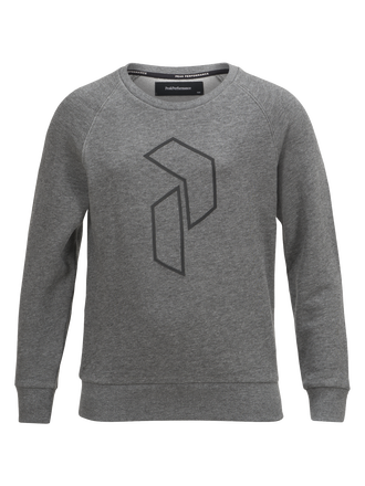 Kids tech crew neck  Grey melange | Peak Performance
