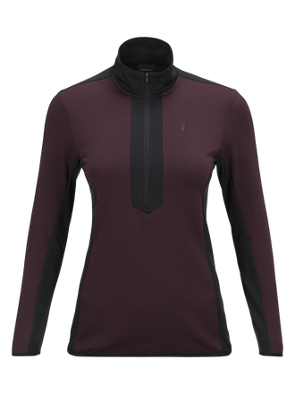 Women's Ace Half Zipped Golf Jersey Mahogany | Peak Performance
