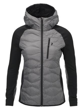 Women's Helium Hybrid Melange Hooded Liner Jacket Grey melange | Peak Performance
