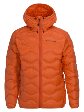 Men's Helium Hooded Jacket Orange Flow | Peak Performance