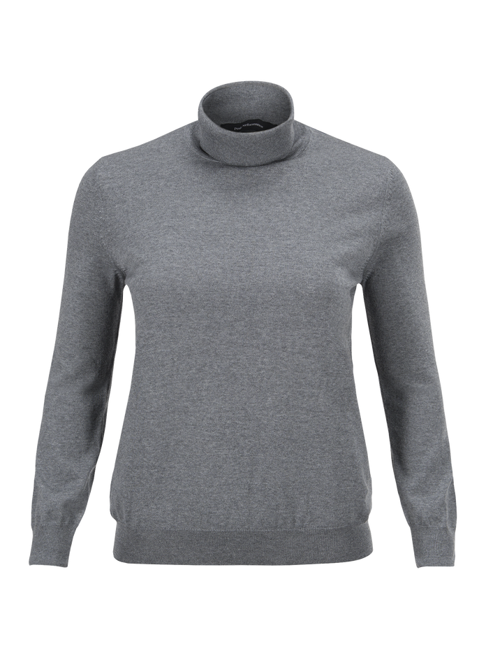 Women's Merino Roll neck sweater Grey melange | Peak Performance
