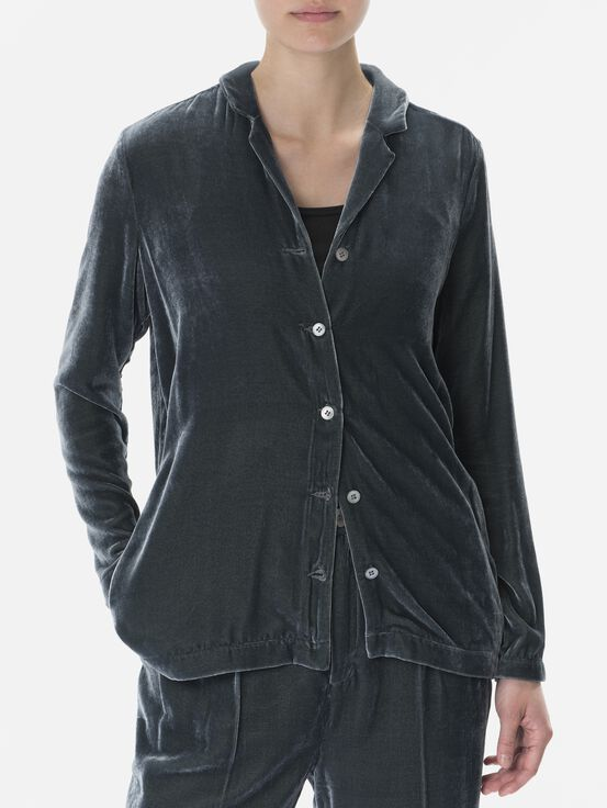 Women's Velvet Shirt Blue Steel | Peak Performance