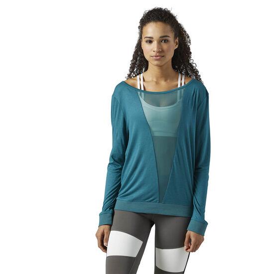Reebok - Mesh Long Sleeve Shirt Turquoise/Washed Jade BQ5841
