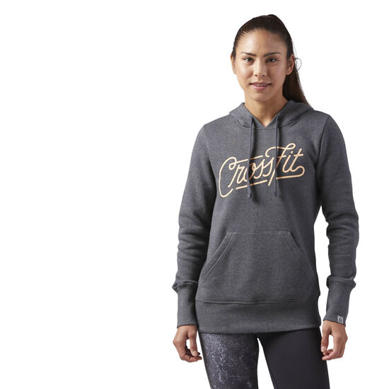Reebok - Reebok CrossFit Script Hoodie Dark Grey Heather CF5736