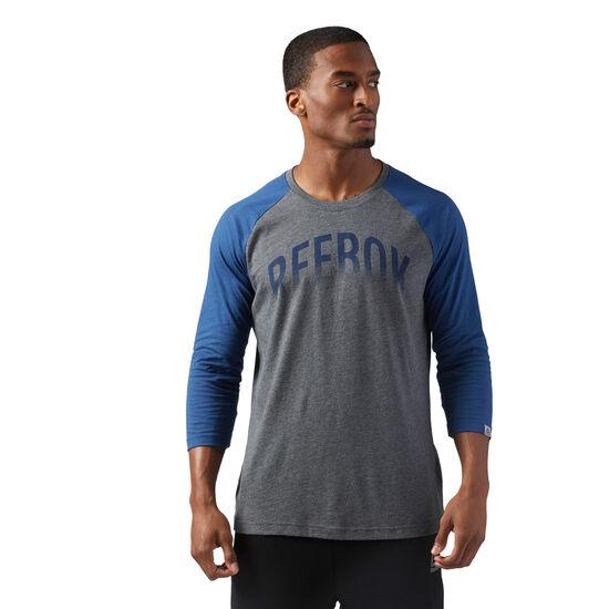 Reebok - Graphic Baseball T-Shirt Dark Grey Heather / Washed Blue CF3866