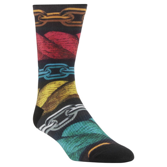 Reebok - ENH Rope and Chain Printed Crew Socks Black/Primal Red CV5996