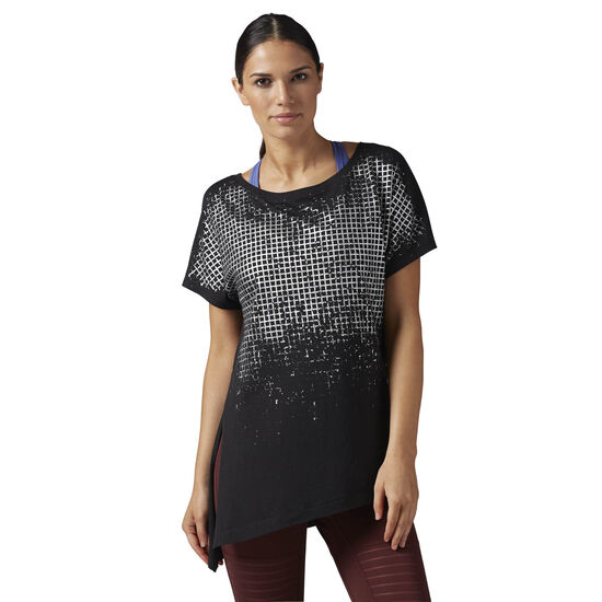 Reebok - Asymmetrical Tee- Grid Print Black BR2736