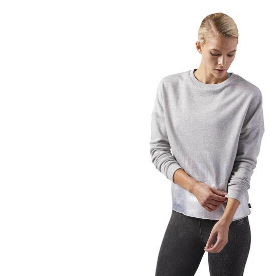 Reebok - Foil Print Crew Neck Sweatshirt Medium Grey Heather CD3765