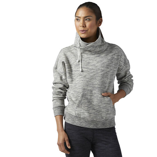 Reebok - Elements Marble Cowl Neck Sweatshirt Medium Grey Heather BR5261
