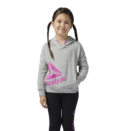 Reebok - Girls Essentials Pullover Hoodie Medium Grey Heather/Charged Pink BS1305